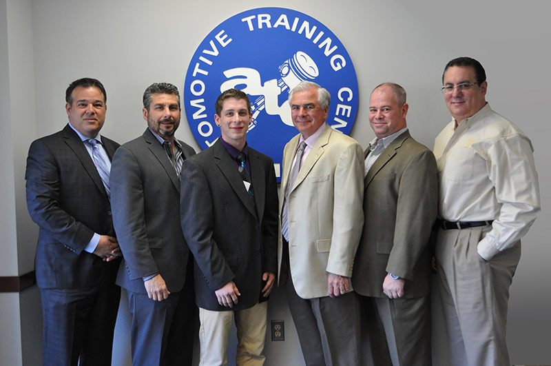 EXTON CAMPUS – from Left to Right: Kevin Mazzucola, Executive Director, Auto Dealers Association of Greater Philadelphia // Joe Bush, Owner, Exton Nissan/Bush Auto Group // Adam Stiteler // Ed Murrin, Service Director, Rafferty Subaru // Chris Hellwarth, Service Manager, Acura of Limerick // Frank Ruggiano, Service Director, Sheridan Auto Group