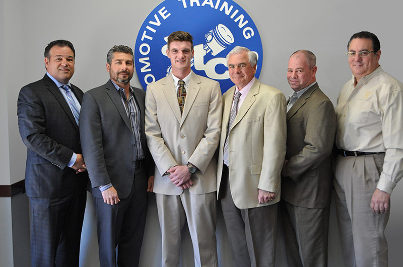 EXTON CAMPUS – from Left to Right: Kevin Mazzucola, Executive Director, Auto Dealers Association of Greater Philadelphia // Joe Bush, Owner, Exton Nissan/Bush Auto Group // Chris Goebel // Ed Murrin, Service Director, Rafferty Subaru // Chris Hellwarth, Service Manager, Acura of Limerick // Frank Ruggiano, Service Director, Sheridan Auto Group