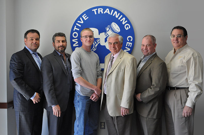 EXTON CAMPUS – from Left to Right: Kevin Mazzucola, Executive Director, Auto Dealers Association of Greater Philadelphia // Joe Bush, Owner, Exton Nissan/Bush Auto Group // Jonathan Matthews // Ed Murrin, Service Director, Rafferty Subaru // Chris Hellwarth, Service Manager, Acura of Limerick // Frank Ruggiano, Service Director, Sheridan Auto Group