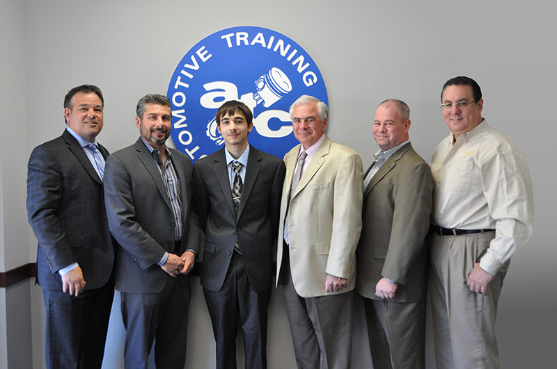 EXTON CAMPUS – from Left to Right: Kevin Mazzucola, Executive Director, Auto Dealers Association of Greater Philadelphia // Joe Bush, Owner, Exton Nissan/Bush Auto Group // Kyle Ramsey // Ed Murrin, Service Director, Rafferty Subaru // Chris Hellwarth, Service Manager, Acura of Limerick // Frank Ruggiano, Service Director, Sheridan Auto Group