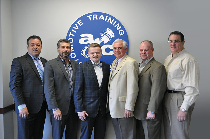 EXTON CAMPUS – from Left to Right: Kevin Mazzucola, Executive Director, Auto Dealers Association of Greater Philadelphia // Joe Bush, Owner, Exton Nissan/Bush Auto Group // Maxon Coty // Ed Murrin, Service Director, Rafferty Subaru // Chris Hellwarth, Service Manager, Acura of Limerick // Frank Ruggiano, Service Director, Sheridan Auto Group