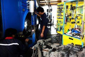 Mechanic Working on Bus
